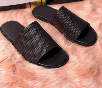 Basket leather slippers