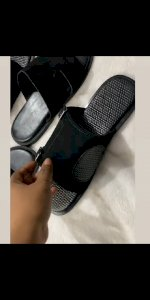Swede slippers with buckle