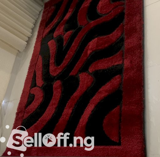 Fairly Used Black and Red Rug